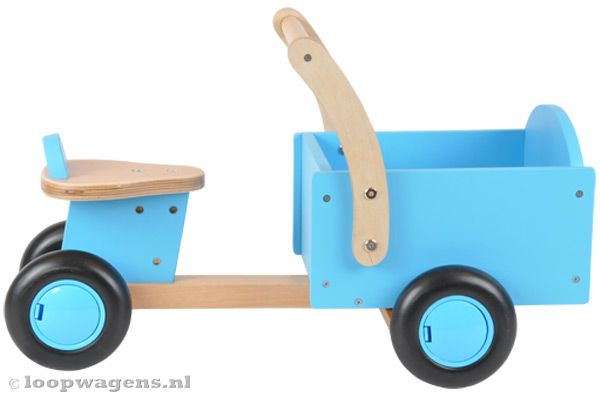 Houten bakfiets little rider blue